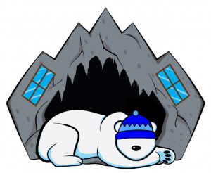logo of a polar bear sleeping in a cave home