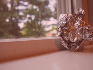 crumpled up piece of tin foil