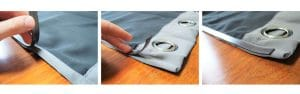 putting magnetic tape on edge of fabric