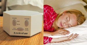 white noise machine and woman sleeping