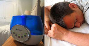humidifier and sleeping man