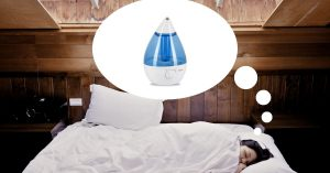 woman thinking about humidifier in bed