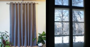 blackout curtains and window in winter