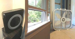 air purifier, open window, fan