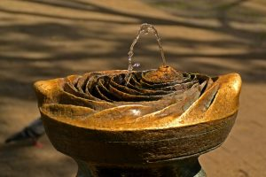 water flowing from fountain