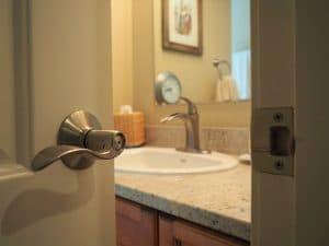 door to the bathroom cracked open
