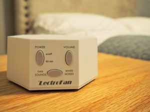 white noise machine in bedroom