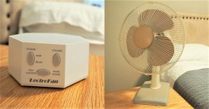 white noise machine and a table fan in a bedroom