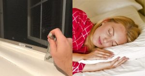 letting fresh air in and woman sleeping
