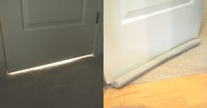 using a light blocking door sweep