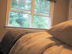 windows from view of bed